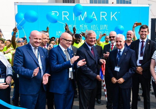 The Primark grand opening ceremony was attended by (left to right) Aidan Shields, Primark CFO; Paul Marchant, Primark CEO; Bethlehem Mayor Robert Donchez, and Jose Luis Martinez De Larramendi, president of Primark U.S. Corp.