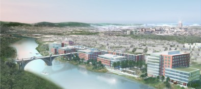 A rendering of the Waterfront, which is expected to include 675,000 square-feet of Class-A office space and 425 apartments in three state-of-the-art complexes.
