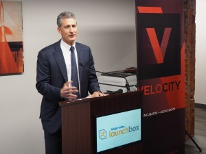 J.B. Reilly, co-founder and president of City Center Lehigh Valley, speaking at the Lehigh Valley Lending Network ribbon-cutting.