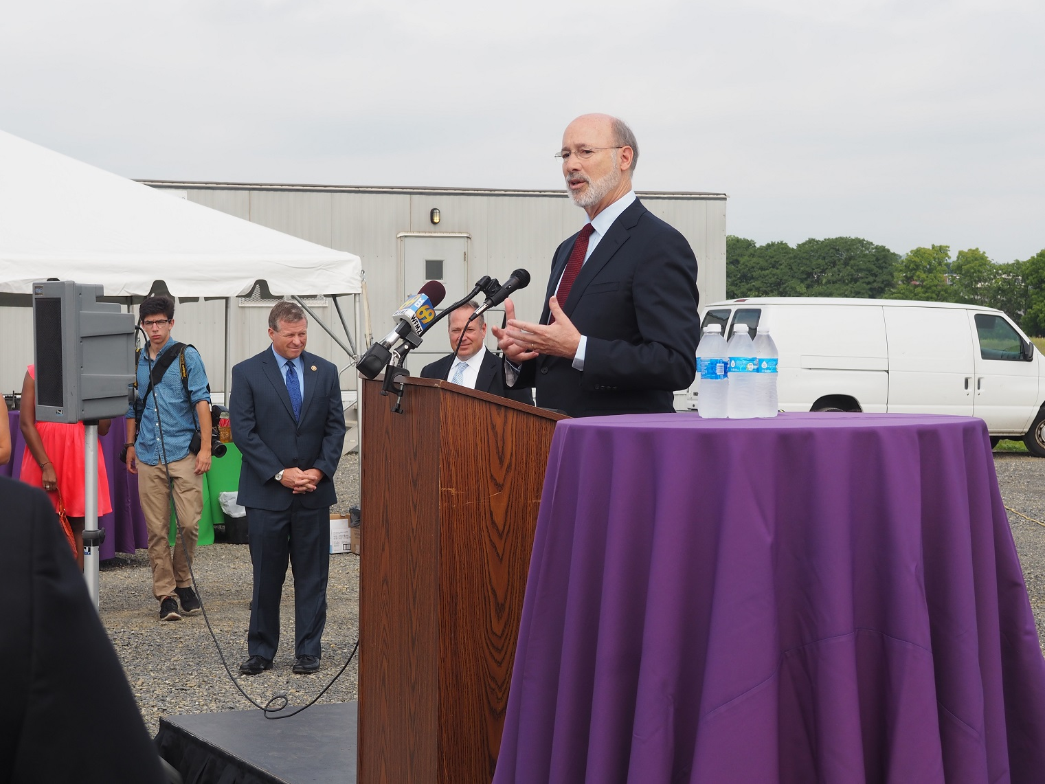 Pennsylvania Gov. Tom Wolf speaking at the Fedex Ground groundbreaking in Allen Township.