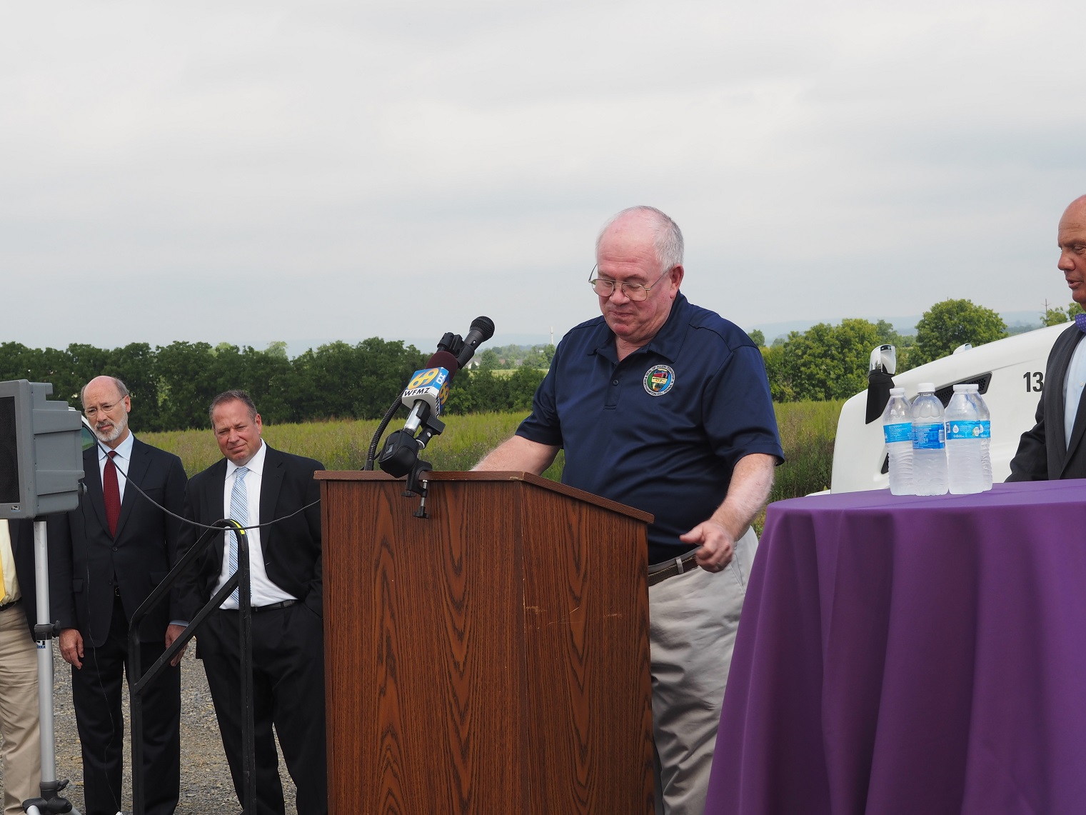 Allen Township Supervisor Larry Oberly speaking at the Fedex Ground groundbreaking in Allen Township.