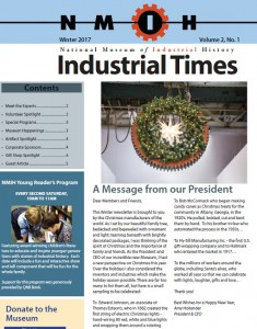 The front cover of the National Museum of Industrial History newsletter. Click the image to download the full newsletter.