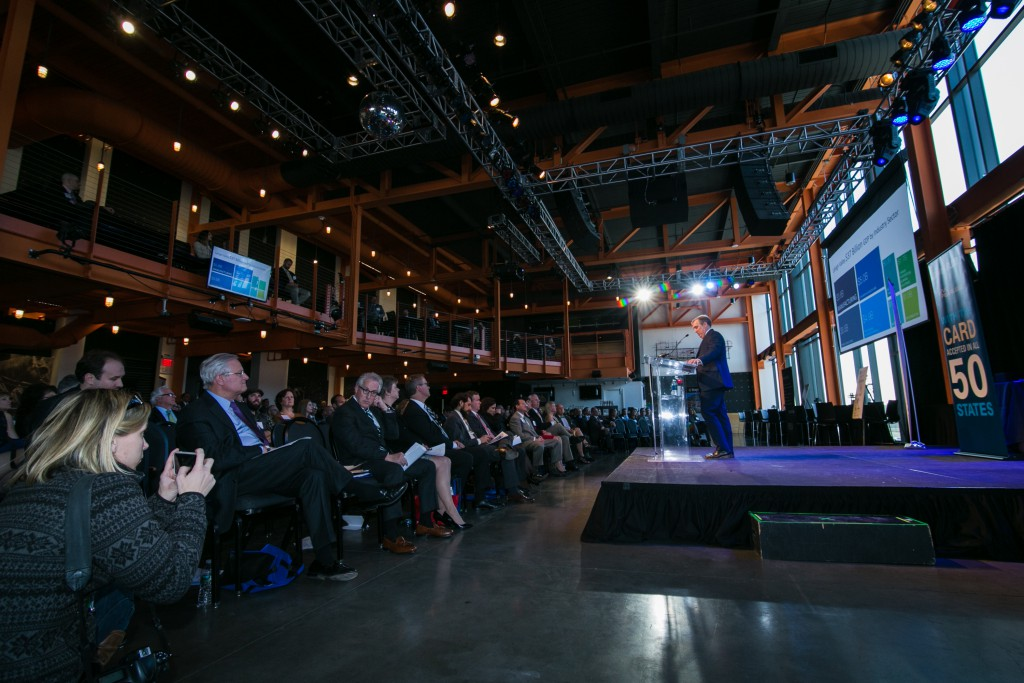 Don Cunningham, President & CEO of LVEDC, speaking at the organization's 2017 annual meeting. (photo by Marco Calderon)