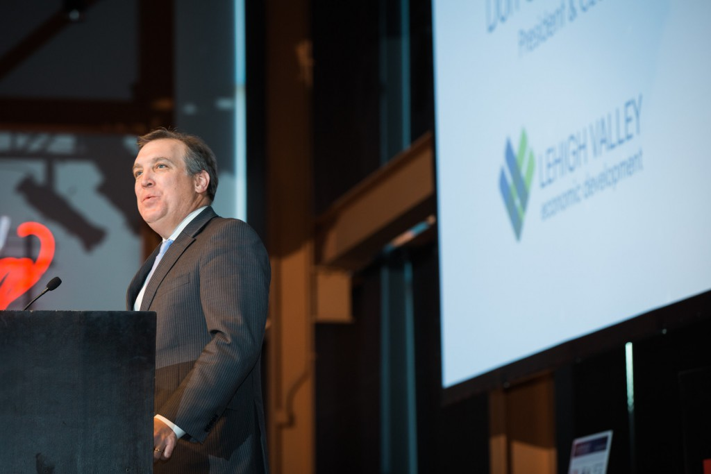 "Don Cunningham discussed the ""The Year in Lehigh Valley Economic Development"" at the 2017 LVEDC Annual Meeting at the ArtsQuest Center in Bethlehem."