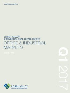 The cover of the Q1 2017 issue of the Lehigh Valley Commercial Real Estate Report.