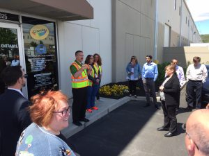 Bob Kester, Crayola Manager of Transportation & Distribution, speaks to the tour during a stop at the Crayola Distribution Center in the Majestic Bethlehem Center.