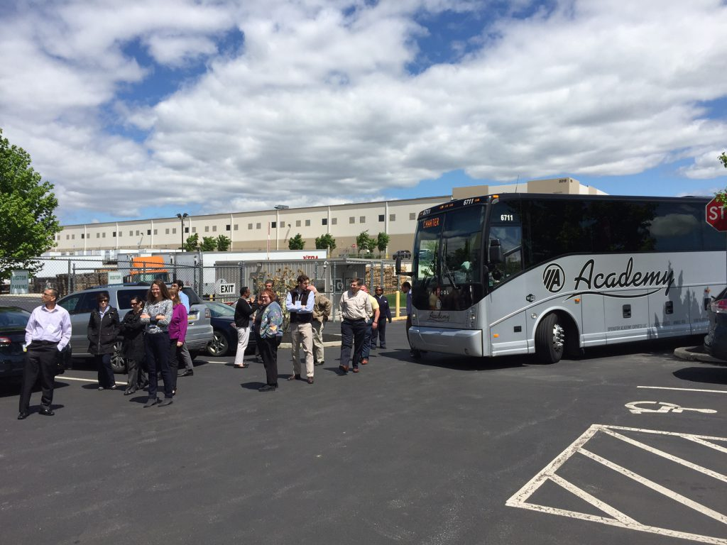 Visitors stopped at the Majestic Bethlehem Center as part of a Lehigh Valley bus tour organized through the I-95 Corridor Coalition's Freight Academy.