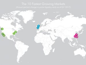 A map showing the 10 fastest growing industrial markets in the world, including the Lehigh Valley.