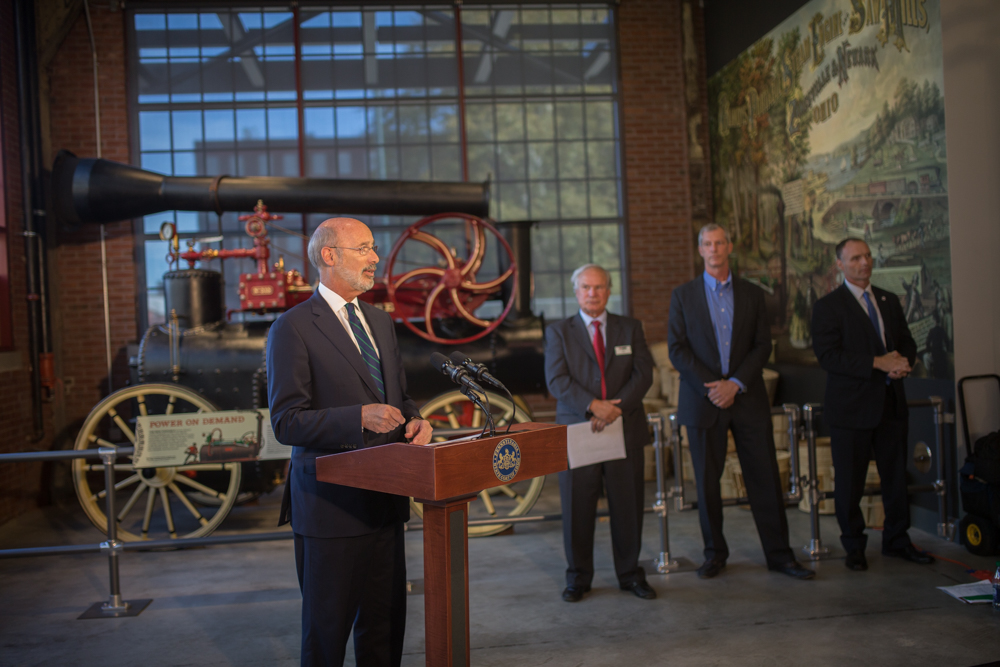 Pennsylvania Gov. Tom Wolf unveiled his Manufacturing PA initiative at the National Museum of Industrial History in Bethlehem. (photo by Glenn Koehler/NMIH)