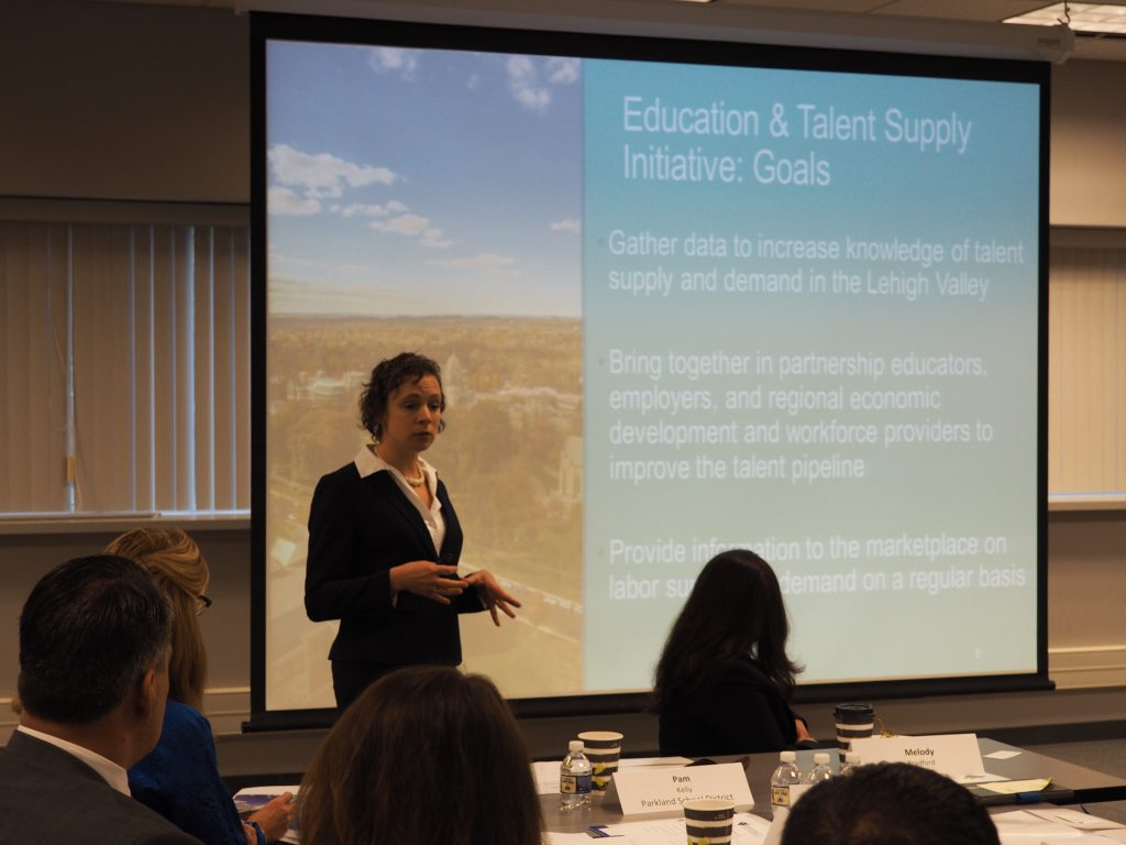 LVEDC Director of Talent Supply Karianne Gelinas discussing the talent supply initiative during an LVEDC Education and Talent Supply Council meeting last month.