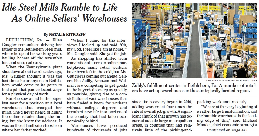 The Lehigh Valley's booming logistics and e-commerce sector was the subject of a front-page story on The New York Times.