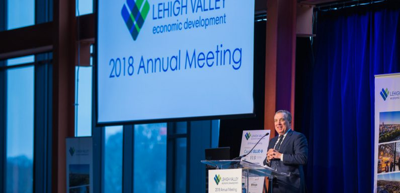 LVEDC President and CEO Don Cunningham speaking at the organization's 2018 Annual Meeting at the ArtsQuest Center at SteelStacks in Bethlehem.