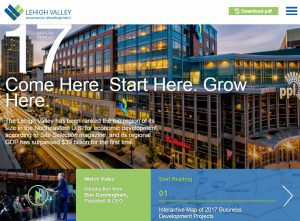 A screenshot of the digital microsite of the 2017 LVEDC Annual Report.