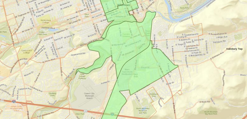 A map of the Allentown tracts included in Gov. Tom Wolf's proposed list of Qualified Opportunity Zones.
