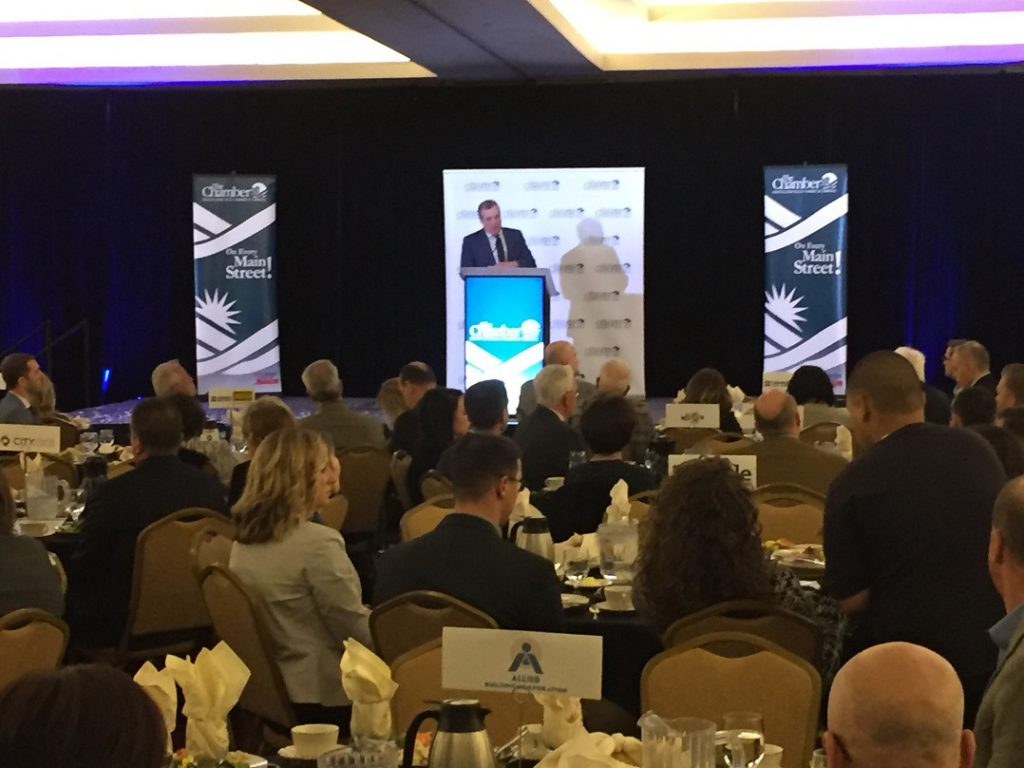 LVEDC President & CEO Don Cunningham speaking at the Greater Lehigh Valley Chamber of Commerce's 2018 Commercial Real Estate Outlook.