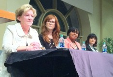 (From left to right) Katy Worrilow, Corinne Warnshuis, Lindsay Watson and Kristin Holmes speak at the panel event.