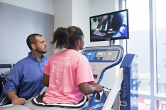 A patient using LVHN-One City center's Alter G, an anti-gravity treadmill.