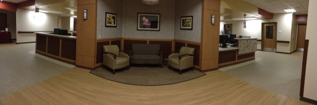A panoramic view of the newly-renovated patient floor at Sacred Heart Hospital.