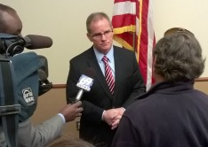 Northampton County Executive John Brown speaks to media after his State of the County address at the Gates Center of Northampton Community College.