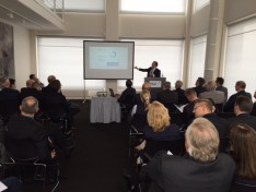 LVEDC CEO and President Don Cunningham speaking to about 25 German companies during a presentation in Dortmund, Germany, during the international business development tour.