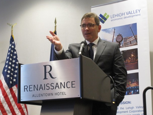 Dennis Davin, Secretary of the Pennsylvania Department of Community and Economic Development, speaking at LVEDC's Conversation and Cocktails event.