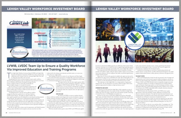 "This two-page spread appeared in Lehigh Valley Business' ""Business Profiles 2015"" issue regarding the new study by Oxford Economics assessing the strengths and weaknesses of the Lehigh Valley workforce."