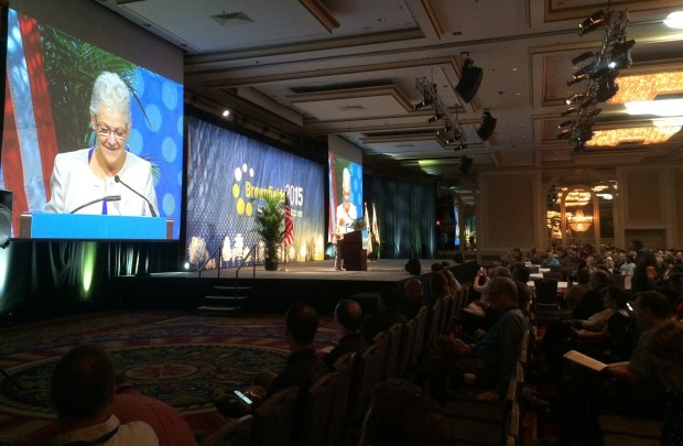 Gina McCarthy, administrator for the U.S. Environmental Protection Agency, speaking at the National Brownfields Conference in Chicago.