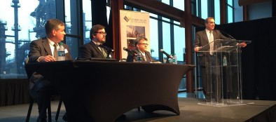 LVEDC President and CEO Don Cunningham (right) introducing the speakers, which includes (left to right) LVEDC Vice President of Finance John Kingsley, LVEDC Director of Redevelopment and External Affairs Andrew Kleiner, and Vincent Carbone of HDR.
