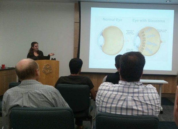 """Liz Cornell discussing """"iDrops,"""" one of three student-led companies from Lehigh University's LaunchBayC Student Accelerator to present at the LVTech Meetup."""