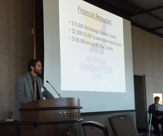 Asher Schiavone, Bethlehem economic development coordinator, speaking at the Southside Bethlehem KIZ Annual Update.