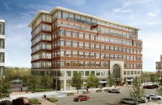 A rendering of 615 Waterfront Drive, the first building expected to be constructed at the Waterfront.