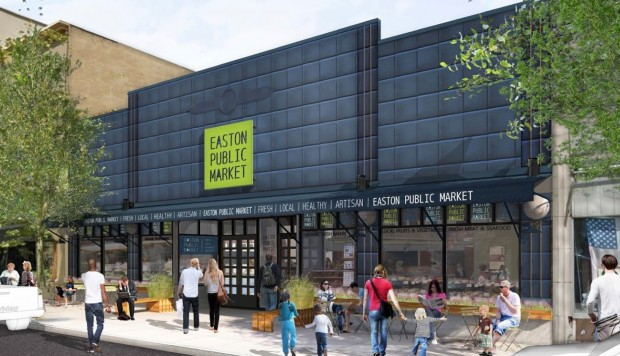 A rendering of the Easton Public Market, an indoor food market expected to open in early 2016 at the former Weller Center in Easton.