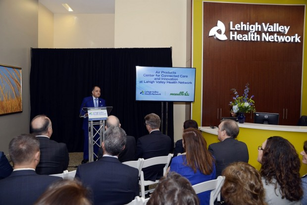 Seifi Ghasemi, chairman, president and CEO of Air Products, speaks at the announcement of the new Air Products Center for Connected Care and Innovation at LVHN.