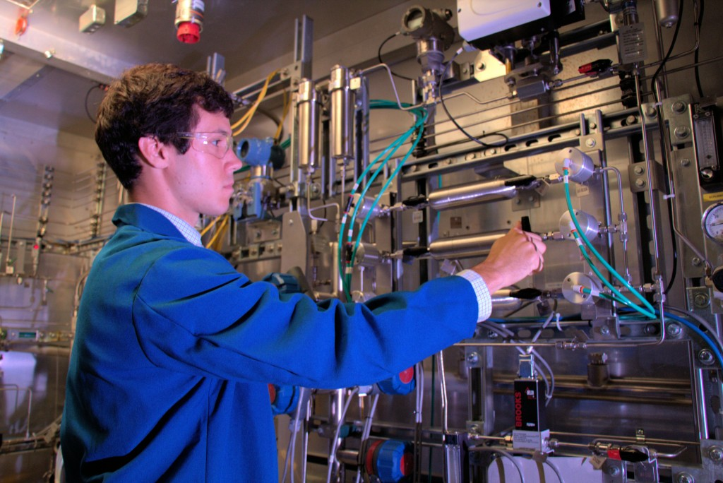 An Air Products technician runs tests at the company's hydrogen reactions lab in Allentown. Air Products was among the Lehigh Valley companies with the most patents awarded between 2010 and 2013. (Photo by Mike Danese, courtesy Air Products)