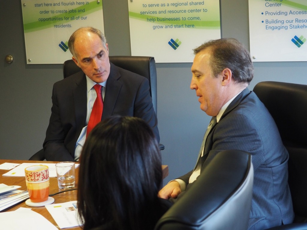U.S. Sen. Bob Casey during a visit to LVEDC in January. Casey will be the host of the upcoming LVEDC Conversation & Cocktails event.