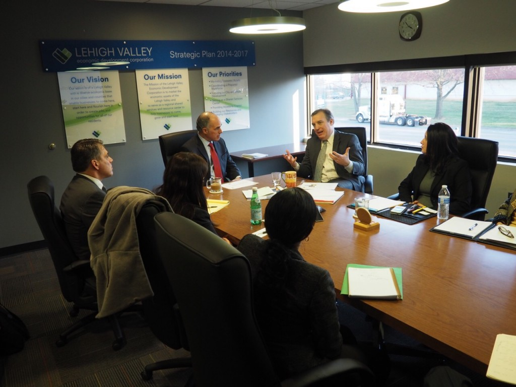 U.S. Sen Bob Casey visited LVEDC offices to speak with Don Cunningham and his staff about the Lehigh Valley.