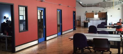 The interior of Bridgeworks Enterprise Center, the Allentown Economic Development Corporation's business incubator.