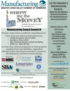 "The official flier for the Manufacturing Council Summit IX: ""Show Me the Money."" Click the image to enlarge."