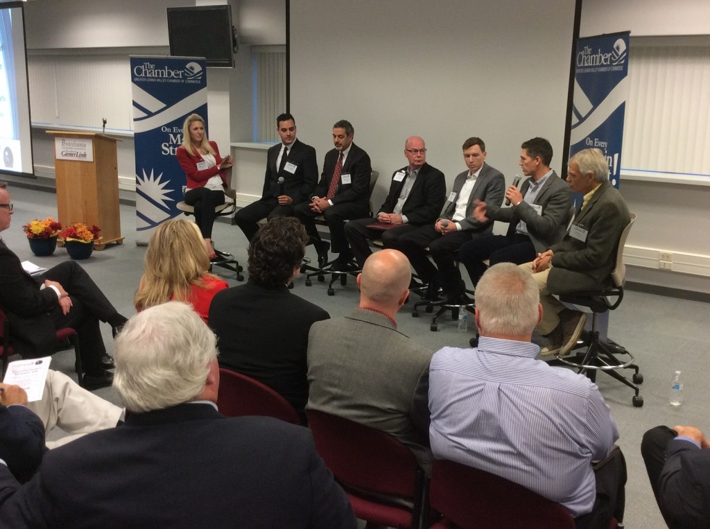 A panel discussion during the previous Greater Lehigh Valley Chamber of Commerce Manufacturing Council Summit, held in October. (courtesy photo)