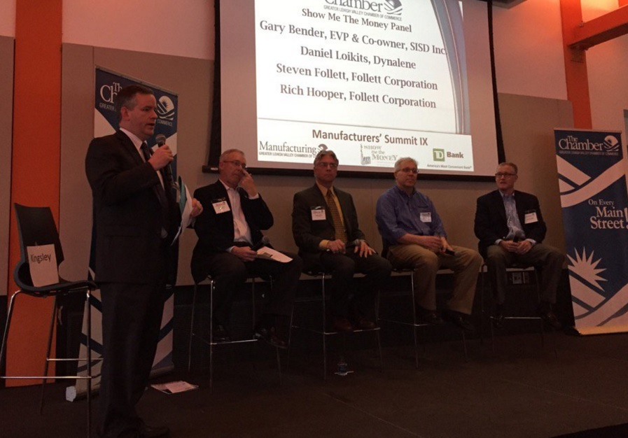 LVEDC Vice President of Finance John Kingsley moderating a panel discussion at the Greater Lehigh Valley Chamber of Commerce's Manufacturing Council Summit. (photo by Lynn Olanoff/Concannon Miller)