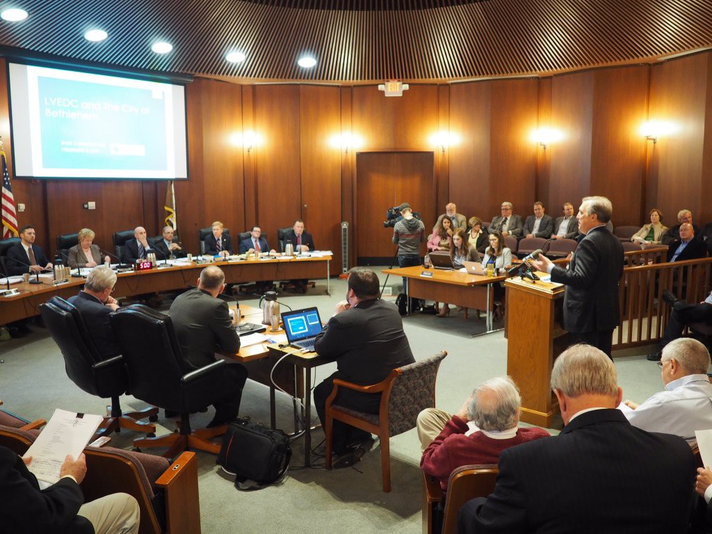 LVEDC President and CEO Don Cunningham speaking to Bethlehem City Council on May 3 about economic development and LVEDC's new sub-regional marketing campaign.