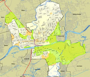 A map of the Bethlehem Enterprise Zones. (Click the image to enlarge)