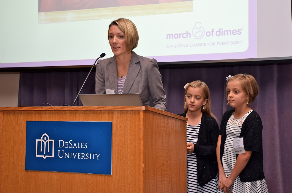 Nicki Reimart and her 9-year-old twin daughters, Camryn and Lydia, at the 23rd Annual March of Dimes Commercial & Industrial Real Estate Awards.