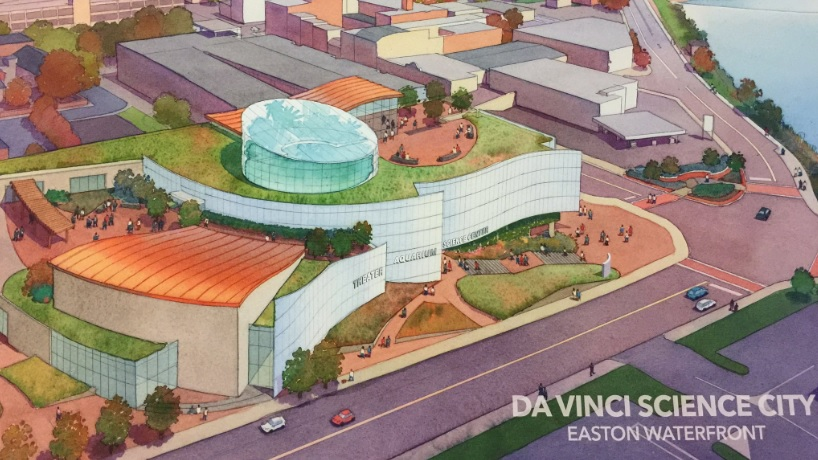 A rendering of the proposed Da Vinci Science City aquarium and science center in Easton.