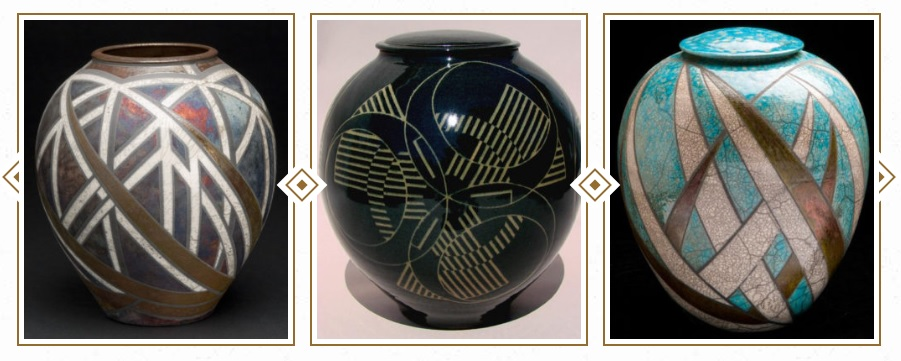 Examples of urns available at Eternally Art, a startup that creates custom-designed urns from ceramic, glass, metal, or wood.