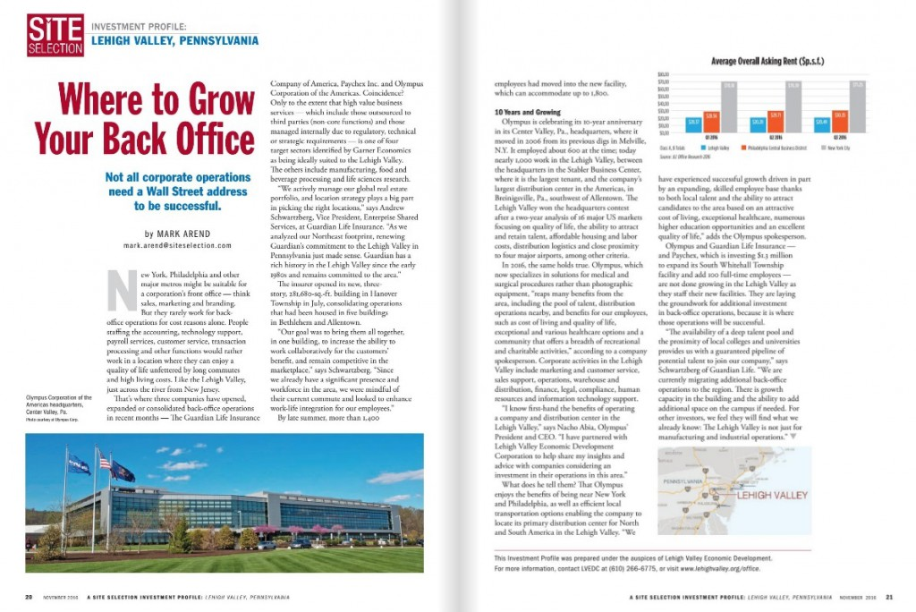 The Lehigh Valley's back office sector was highlighted in Site Selection magazine.