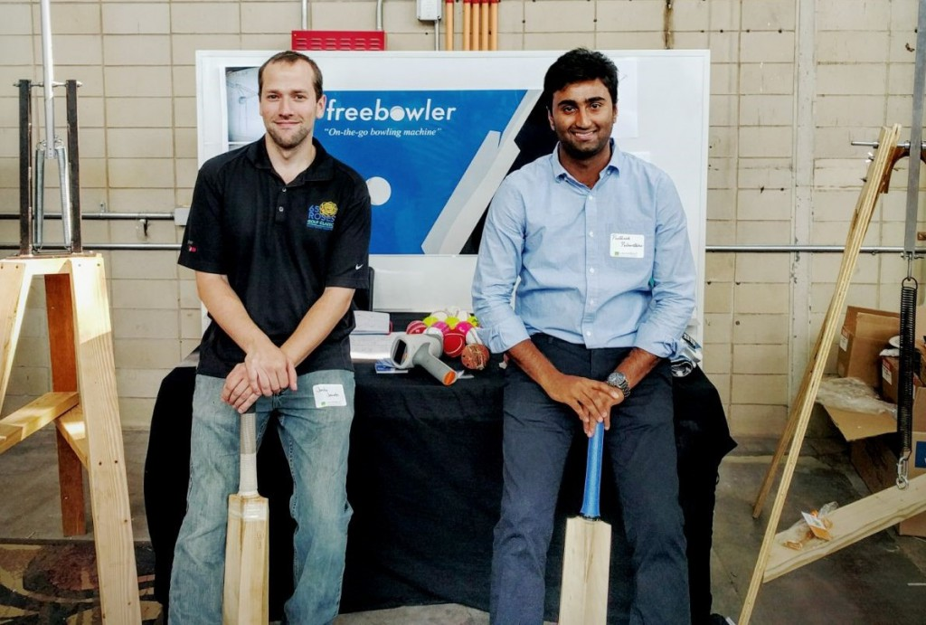 Justin Jacobs (left) and Pratheek Palanethra are the co-creators of Freebowler, a portable bowling machine capable of throwing real cricket balls.