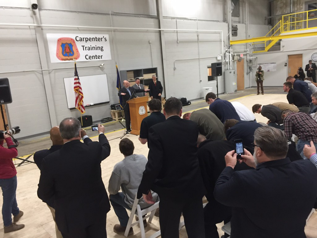 Gov. Tom Wolf delivered a post-budget address to a crowd of more than 100 people at the Carpenters Training Center in Allentown.