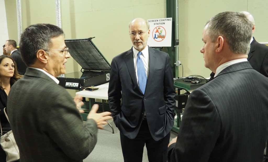Governor Tom Wolf speaking with Vastex International President Mark Vasilantone and LVEDC Vice President of Finance John Kingsley during his visit to the Allentown manufacturer.