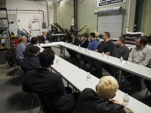 Gov. Tom Wolf holding roundtable discussion at Vastex International with company employees, elected officials, and other community leaders.